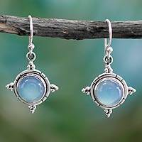 Chalcedony dangle earrings, 'Endless Sky' - Artisan Jewelry Sterling Silver and Chalcedony Earrings