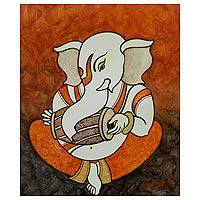 'Musical Ganesha' - Unique Ganesha Painting from India
