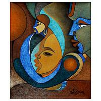 'Faces' - Original Cubist Painting from India