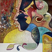 'Dual Face' - Original Cubist Painting from India
