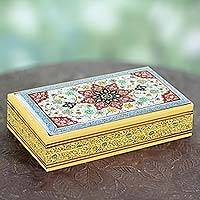 Wood jewelry box, 'Royal India'