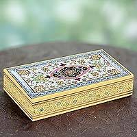 Wood jewelry box, 'Mughal Floral' - Artisan Crafted Papier Mache Decorative Box