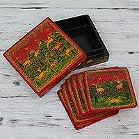 Wood coasters, 'Medieval Forest' (set for 6) - Wood coasters (Set for 6)