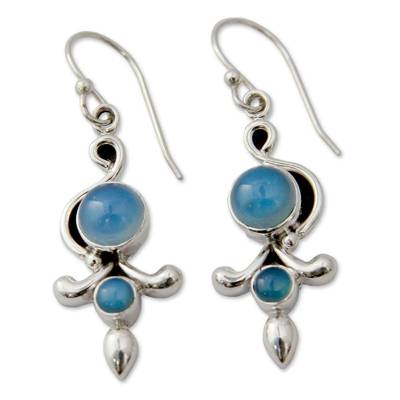 Sterling Silver and Chalcedony Earrings India Jewelry