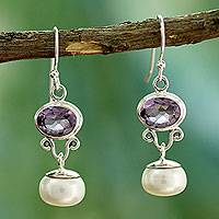 Cultured pearls and amethyst dangle earrings, 'Dazzling Delhi' - Pearl and Amethyst Dangle Earrings