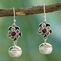 Cultured pearl and garnet flower earrings, 'Mumbai Bloom' - Unique Pearl and Garnet Flower Earrings