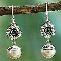 Cultured pearl and peridot flower earrings,