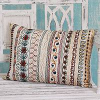 Cushion cover, 'Mod Garden' - Cushion cover