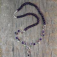 Amethyst and citrine Y-necklace, 'Wild Feminine' - Floral Y Necklace Multigemstone Jewelry from India
