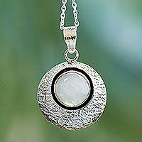 Moonstone pendant necklace, 'Intuitive Moon' - Artisan Jewelry Moonstone and Sterling Silver Necklace