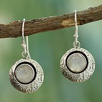 Moonstone dangle earrings, 'Intuitive Moon' - Artisan Jewelry Moonstone and Sterling Silver Earrings