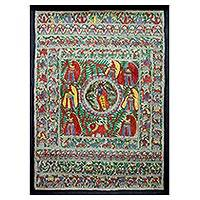 Madhubani painting, 'Krishna with Women of the Village' - Madhubani Painting Hinduism Art
