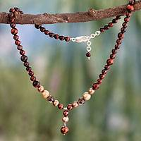 Cultured pearl and tiger's eye Y-necklace, 'Mumbai Sunset' - Fair Trade Y Necklace Tigers Eye Pearl Necklace from India