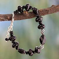 Onyx beaded bracelet, 'Delhi at Midnight' - Onyx beaded bracelet