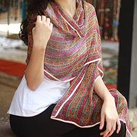 Silk shawl, 'Indian Jasmine' - Floral Silk Patterned Shawl
