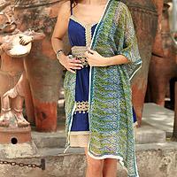 Silk shawl, 'Paisley Intertwined' - Silk shawl