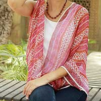 Silk shawl, 'Kerala Carnations' - Floral Silk Striped Shawl India Wrap