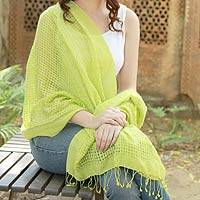 Wool and silk shawl, 'Chartreuse Bliss' - Chartreuse Wool and Silk Wrap Patterned Shawl
