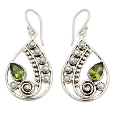Pearl and Peridot Earrings Sterling Silver Jewelry