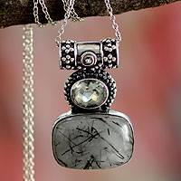 Tourmalinated quartz and prasiolite pendant necklace, 'Splendid Light' - Fair Trade Sterling Silver and Quartz Necklace