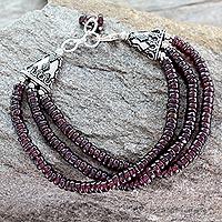 Garnet beaded bracelet, 'Splendor of India'