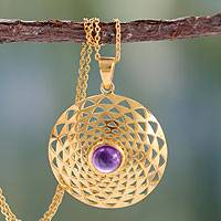 Gold vermeil amethyst pendant necklace, 'Jaipur Sun' - 22k Gold Vermeil and Amethyst Necklace India Jewelry