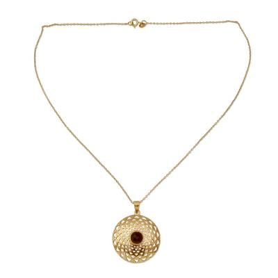 Gold vermeil smoky quartz pendant necklace