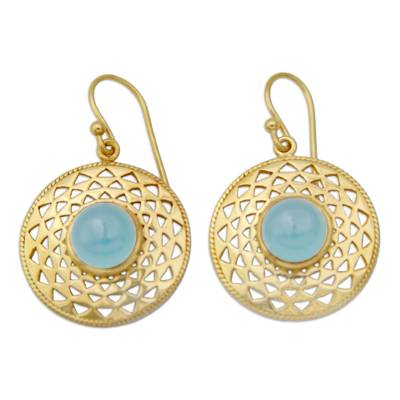 Gold Vermeil Blue Chalcedony Earrings