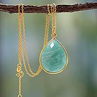 Gold vermeil and amazonite pendant necklace, 'Island Fantasy' - Vermeil Amazonite Necklace Jewelry from India