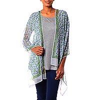 Silk shawl, 'Lush Kolkata' - Blue and Green Hand Block Printed 100% Silk Shawl India