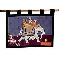 Cotton batik wall hanging, 'Royal Ride' - Cotton batik wall hanging