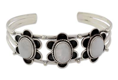 Handmade Floral Sterling Silver and Moonstone Cuff Bracelet