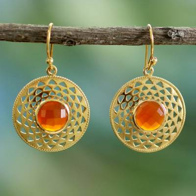 Gold vermeil onyx dangle earrings, Jaipur Sunshine