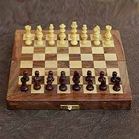 Wood chess set, 'Love of the Game' - India Fair Trade Wood Chess Set Game