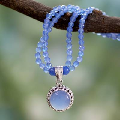 Sterling silver pendant necklace, 'Eternally Blue' - Handcrafted Silver and Blue Chalcedony Necklace from India