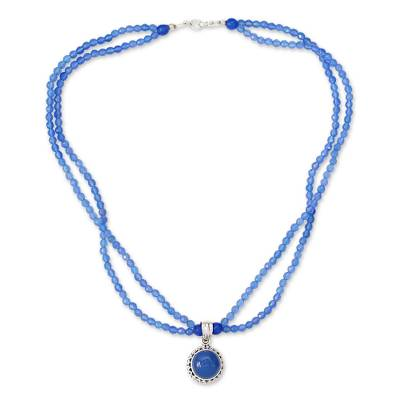 Handcrafted Silver and Blue Chalcedony Necklace from India