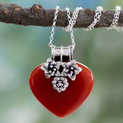 Carnelian heart necklace, Love Declared