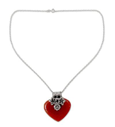Handcrafted Carnelian Heart Necklace with Sterling Silver