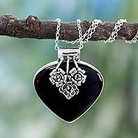Onyx heart necklace, 'Love Declared' - Indian Onyx and Sterling Silver Necklace Heart Jewelry