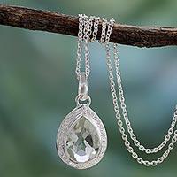 Prasiolite pendant necklace,