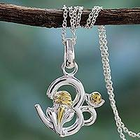 Sterling silver pendant necklace, 'Om Ganesha' - Unique Sterling Silver Pendant Necklace
