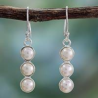 Cultured pearl drop earrings, 'Infinite Beauty' - Cultured pearl drop earrings