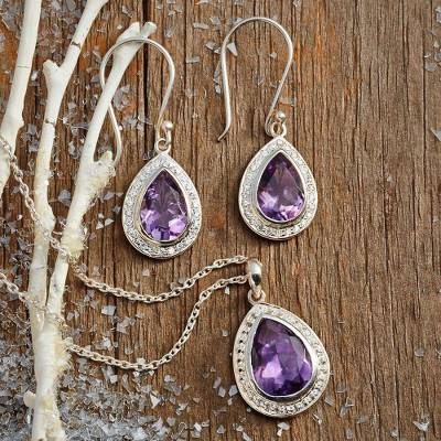 Amethyst dangle earrings, 'Mughal Mystique' - Amethyst and Sterling Silver Earrings from India jewellery