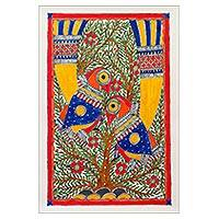 Madhubani painting, 'Early Morning' - Fine Art Madhubani Painting
