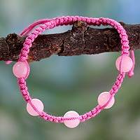 Rose quartz Shambhala-style bracelet, 'Harmony in Pink' - Rose Quartz Shambhala-style Bracelet from India