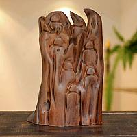 Reclaimed wood sculpture, 'Family Together' - Original Found Wood Sculpture