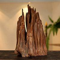 Reclaimed wood sculpture, 'Sunset Refuge' - Abstract Wood Sculpture from India