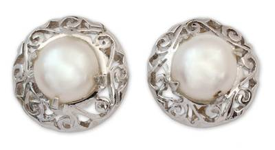 Pearl Earrings in Sterling Silver Indian Jewelry Collection