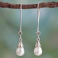 Cultured pearl dangle earrings, 'Precious Purity' - Pearl and Sterling Silver Earrings Fair Trade Jewelry