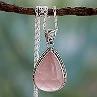 Rose quartz pendant necklace, 'Love Drop' - Rose Quartz and Sterling Silver Necklace Indian Jewelry